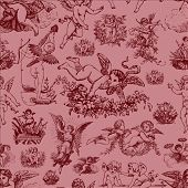 Repeating pattern featuring cupids and angels. Easy to edit. Each character is separate.