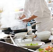 picture of gourmet food  - Chef preparing food - JPG