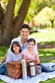 stock photo of happy family  - Happy family picnicking in the park - JPG