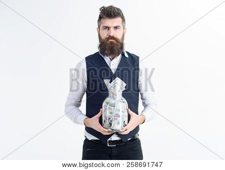 Millionaire Bearded Man With Cash