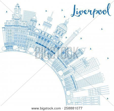 Outline Liverpool England Skyline with