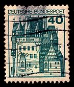 GERMANY-CIRCA 1977:A stamp printed in Germany shows image of Burg Eltz is a medieval castle nestled