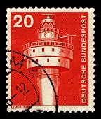 GERMANY-CIRCA 1975:A stamp printed in Germany shows image of The Alte Weser Lighthouse is located of