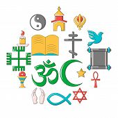 Religion Icons Set. Cartoon Illustration Of 16 Religion Icons For Web poster