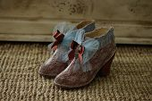 Shoes Decorated In Vintage Style; Shoes In Vintage Style Decorated With Lace And Bows poster