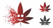 Happy Cannabis Icon In Dissolved, Pixelated Halftone And Undamaged Entire Versions. Pixels Are Group poster