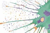 Watercolor Handdrawn Blot. Colorful Ink Drop. Greeting Card Concept. Vector Illustration poster