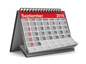 2019 year. Calendar for September. Isolated 3D illustration poster