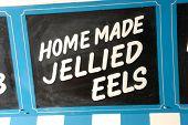 Постер, плакат: Рыбный рынок знак Home Made заливные Eels