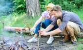 Tourists Sit Log Near Bonfire Taking Photo On Smartphone. Couple On Vacation Capture Moment. Couple  poster