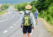 Meet Fellow Traveler. Man Traveler Hitchhiker Meet Companion At Road Edge. Friends Or Companions Tra poster