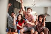 Four young adult friends watching sports on TV celebrating poster