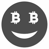 Glad Bitcoin Smiley Vector Pictograph. Style Is Flat Graphic Gray Symbol. poster