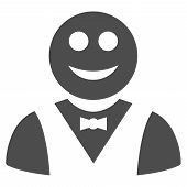 Glad Waiter Vector Icon. Style Is Flat Graphic Grey Symbol. poster
