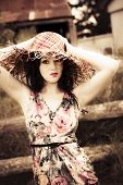 foto of olden days  - Vintage Glamour Portrait In A Olden Day Farming Field Female - JPG