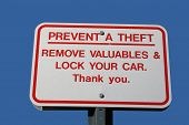 Prevent Theft Sign