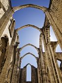 picture of carmelite  - The Carmo Convent is a historical building in Lisbon Portugal - JPG