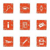 Outdoor Recreation Icons Set. Grunge Set Of 9 Outdoor Recreation Icons For Web Isolated On White Bac poster