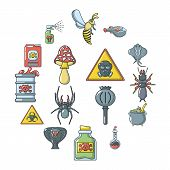 Poison Danger Toxic Icons Set. Cartoon Illustration Of 16 Poison Danger Toxic Icons For Web poster
