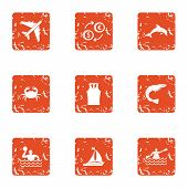 Trip Wealth Icons Set. Grunge Set Of 9 Trip Wealth Icons For Web Isolated On White Background poster