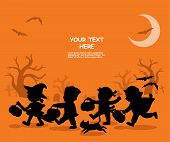 Happy Halloween. Children Dressed In Halloween Fancy Dress To Go Trick Or Treating. Template For Adv poster