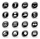 Rap Web Icons - Black Round Chrome Buttons poster