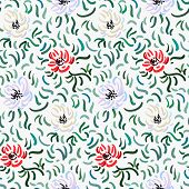 Seamless Pattern Of Red, Pale Violet And Beige Anemone Flowers In Post-impressionism Style poster