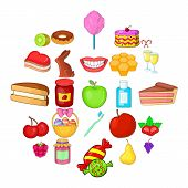 Dessert Icons Set. Cartoon Set Of 25 Dessert Vector Icons For Web Isolated On White Background poster