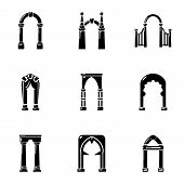Circular Arc Icons Set. Simple Set Of 9 Circular Arc Vector Icons For Web Isolated On White Backgrou poster