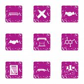 Chemical Chaos Icons Set. Grunge Set Of 9 Chemical Chaos Vector Icons For Web Isolated On White Back poster