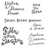 Lettering Sea And Motivation Quotes Set. Calligraphy Inspirational Quote. Sea, Marine Motivational Q poster