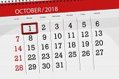 Calendar Planner For The Month, Deadline Day Of Week 2018 October, 1, Monday poster
