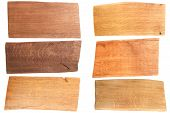 Set Of Wooden Plank Isolated On White Background. Collection Different Color Oak Planks. poster