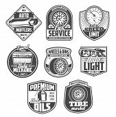 Car Repair And Diagnostic Service Icons. Auto Motor Oil, Wheel And Tire, Automobile Light And Speedo poster
