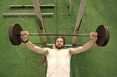 Muscular Man Workout In Gym Doing Exercises With Barbell, Strong Doing Weightlifting On Trainer On G poster