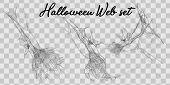 Vector Illustration Halloween Spider Web Isolated On Transparent Background. Hector Venom Cobweb Set poster