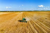 Aerial Photography, Combine Harvester Is Working On A Wheat Field. Autumn Harvesting Of Cereals. poster