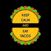 Fresh Flat Tacos And Motivation Sign Banner. Two Fresh Mexican Taco With Beef Meat, Salad And Tomato poster
