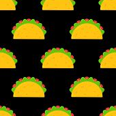 Delicious Mexican Taco Food Seamless Pattern. Tasty Fresh Beef Meat Or Vegetable Tacos With Salad An poster