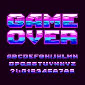 Game Over Alphabet Font. Pixel Letters And Numbers. 80s Arcade Video Game Typeset. poster