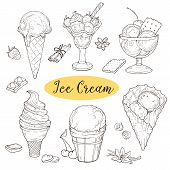 Hand Drawn Icecream Collection. Ice-cream Sundae, Scoops, Waffle Cone In Line Art Style. Cool And Sw poster