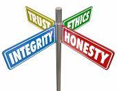 Integrity Honesty Trust Ethics Signs 3d Illustration poster