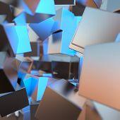 Silver Or White Gold Platinum Blocks Cubes Background. Modeling 3d Illustration. Wealth Rich Mining  poster
