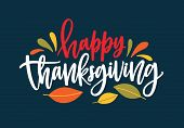 Happy Thanksgiving Wish Written With Elegant Calligraphic Script And Decorated By Fallen Autumn Foli poster