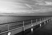 Ship Board In Miami, Usa In Blue Sea On Evening Sky. Shipboard On Idyllic Seascape. Water Travel, Vo poster