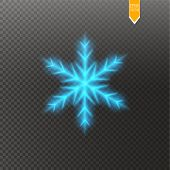 Shine Blue Snowflake With Glitter Isolated On Transparent Background. Christmas Decoration With Shin poster