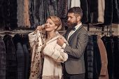 Business Meeting, Moneybags. Fashion And Beauty, Winter, Fur. Date, Couple, Love, Man And Woman. Wom poster