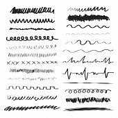 Line Brushes Vector Illustration. Hand Drawn Strokes. poster