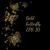Shiny Golden Line Butterflies On The Black Background. Butterfly In Shiny Luxury Golden Colored. Vec poster