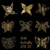 Shiny Golden Line Butterflies On The Black Background. Butterfly Collection In Shiny Luxury Golden C poster